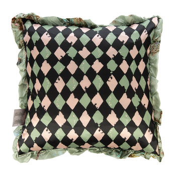 Floral Diamond Satin Reversible Pillow - Pistachio/Pink - 50x50cm