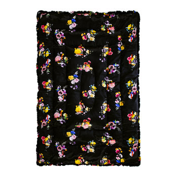 Graphic Floral Quilt - Duck Egg/Black - 140x205cm