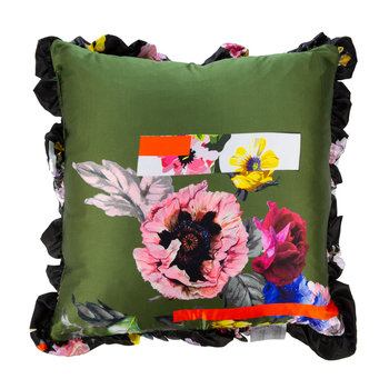 Sketchbook Satin Reversible Pillow - Khaki/Black - 50x50cm