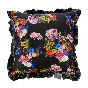 Wild Rose Satin Reversible Pillow - Black - 50x50cm