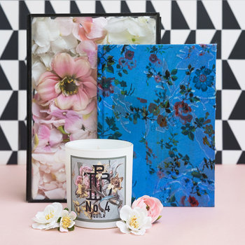Printed Satin Notebook - Blue Flower