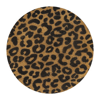 Leopard Print Circle Door Mat - Black