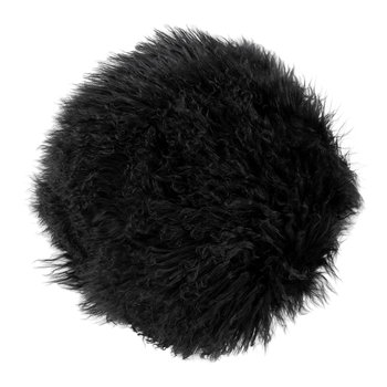 Mongolian Lambskin Cushion - Round - Black