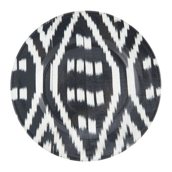 Ceramic Ikat Dessert Plate - Black/White