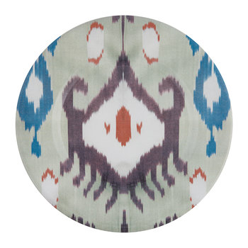 Ceramic Ikat Dessert Plate - Teal/Purple