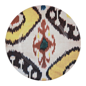 Ceramic Ikat Dessert Plate - Yellow/Red