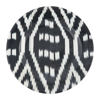 Ceramic Ikat Dinner Plate - Black/White