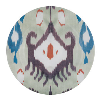 Ceramic Ikat Dinner Plate - Teal/Purple