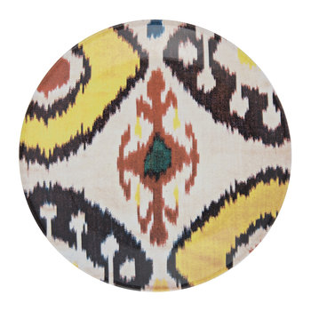 Ceramic Ikat Side Plate - Yellow/Red