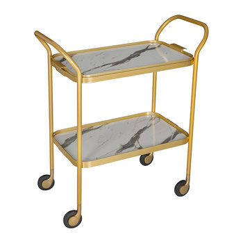 Marble Drinks Trolley - White