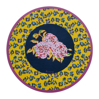 Leopard Flower Round Placemat - Yellow