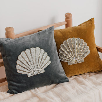 Velvet Shell Cushion - Grey