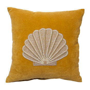 Velvet Shell Cushion - Mustard