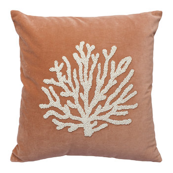 Velvet Coral Cushion - Brown
