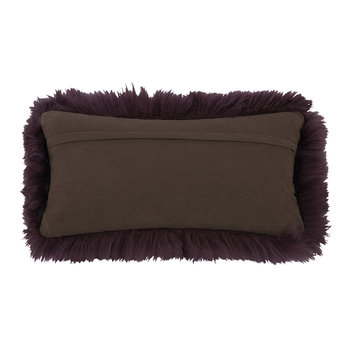 New Zealand Sheepskin Pillow - 28x56cm - Aubergine