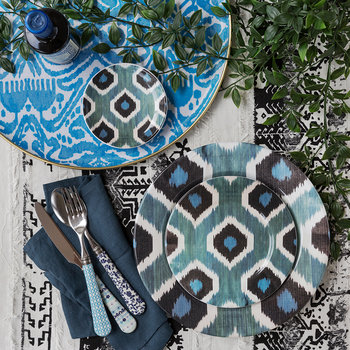 Ceramic Ikat Dessert Plate - Blue/Black