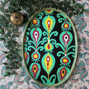 Ikat Hand-painted Iron Tray - Teal Paisley