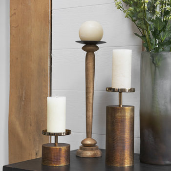 Rustic Gold Wooden Candlestick - Large