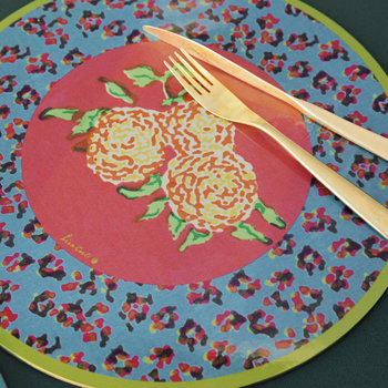 Leopard Flower Round Placemat - Blue
