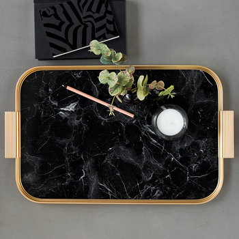 Ribbed Marble Tray with Handles - Black
