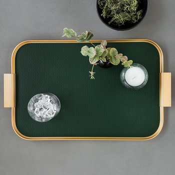 Ribbed Metal Tray with Handles - Forest Green/Gold