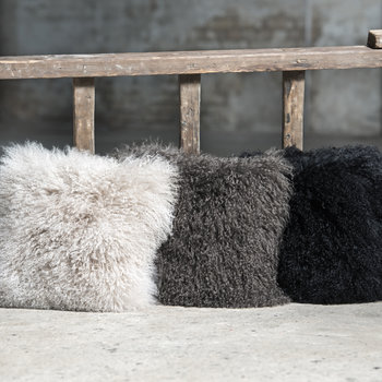 Tibetan Sheepskin Cushion - Steel