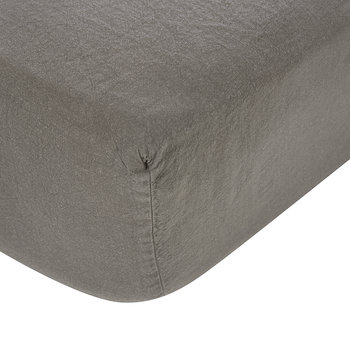 Luna Linen Fitted Sheet - Charcoal
