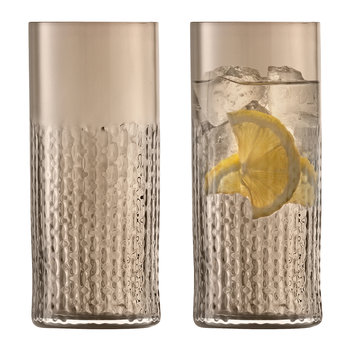 Wicker Highball Glass - Set of 2 - Taupe