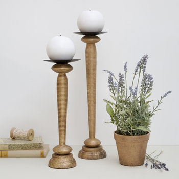 Rustic Gold Wooden Candlestick - Small