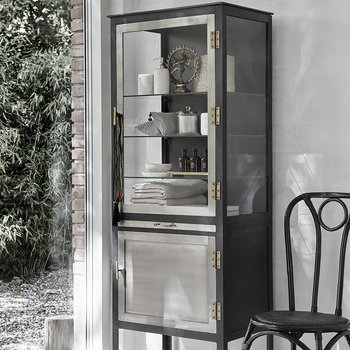Glass Cabinet with Drawers - Grey