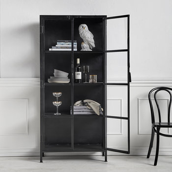 Iron and Glass Cabinet with Doors - Black