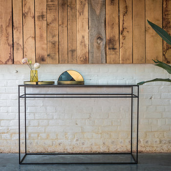 Heavy Aged Mirror Console - Charcoal
