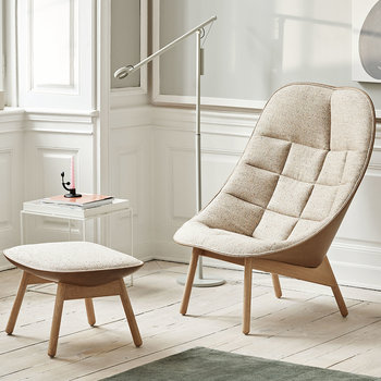 Uchiwa Quilted Armchair - LGG60 Natural/SIL0258 Oak