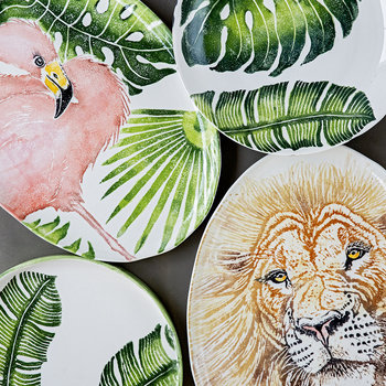 Into The Jungle Round Banana Leaf Tray - Large