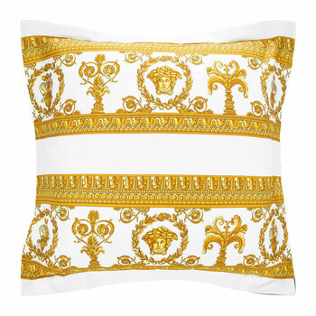 Barocco&Robe Double Face Reversible Pillow - White/Black/Gold