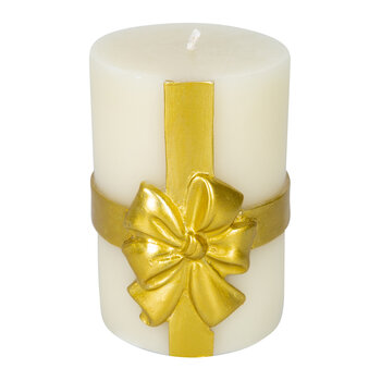 Bow Pillar Candle - Gold