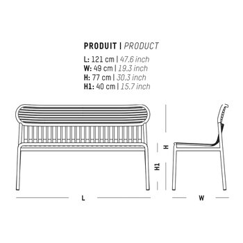 Filaire Outdoor Bench - White