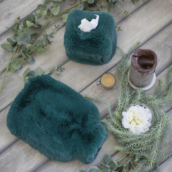 Faux Fur Hot Water Bottle - Alpine Green