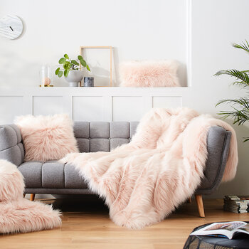 Himalaya Faux Fur Cushion - Blush - 45x45cm