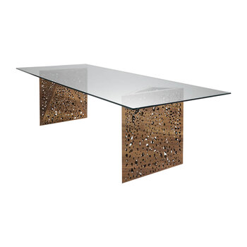 Riddled Dining Table with LED - Walnut/Glass