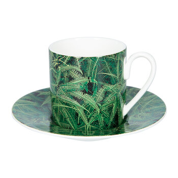 Paradise Foliage Coffee Cups & Saucer - Set of 2 - Green