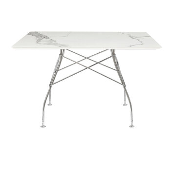 Glossy Chrome Square Table - White Marble