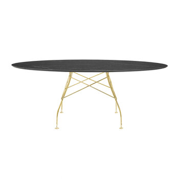 Glossy Gold Oval Table - Black Marble