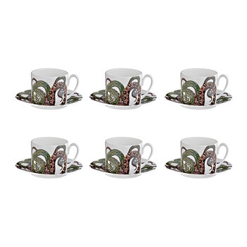 Snakes Tazza Teacup and Saucer - Set of 6