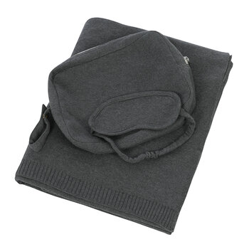 Plain Knit Travel Kit - Dark Grey
