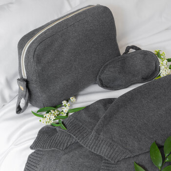 Knitted Eye Mask & Blanket Set - Dark Grey