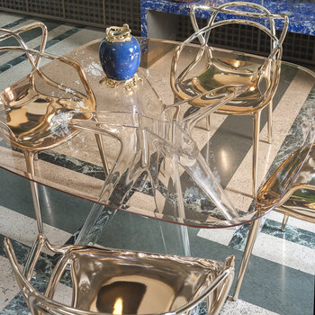 Sir Gio Transparent Square Table - Pink
