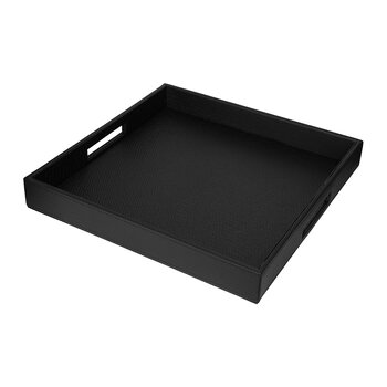 Faux Leather Tray - Black Weave