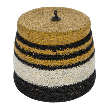 Black & White Stripe Seagrass Basket With Lid
