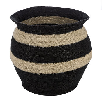 Thick Stripe Seagrass Basket - Black